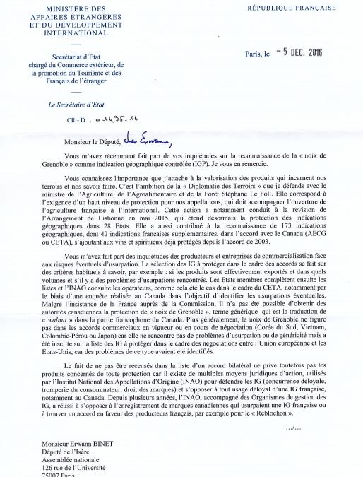 CETA et noix de Grenoble, la réponse de Matthias Fekl